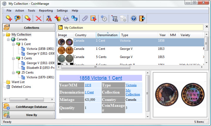Click to view CoinManage Canada Coin Software 2013 screenshot