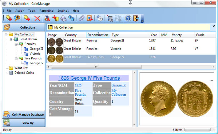 Click to view CoinManage UK Coin Collecting Software 2013 screenshot