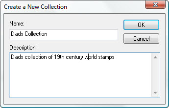 StampManage create collection dialog