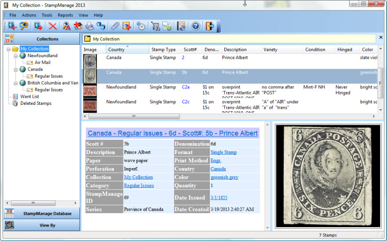 StampManage Canada Philatelic Software Screen shot