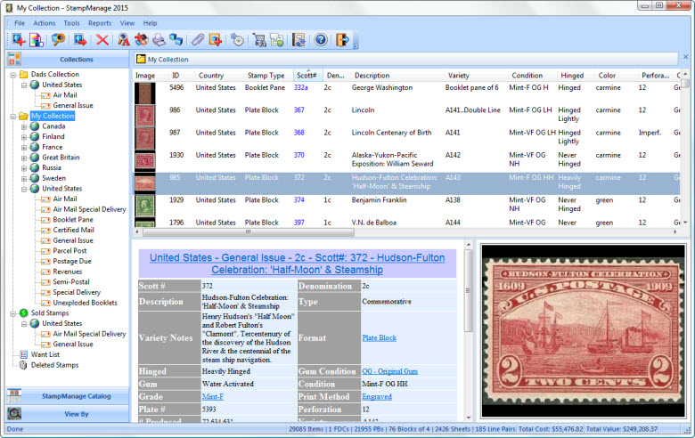 Use StampManage to catalog  value your stamp collection using SCOTT? numbers