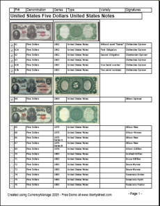 USA 5 Dollar Bank Note Checklist report