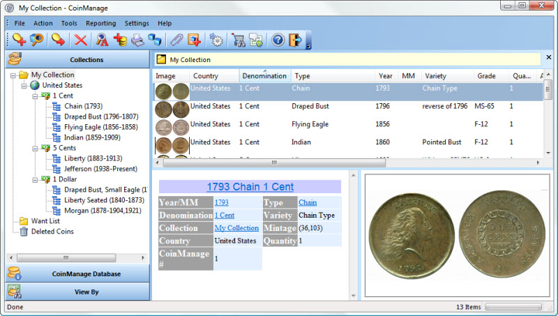 CoinManage USA Coin Collecting Software Screen shot